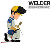 Isolated welder with PPE on transparent background