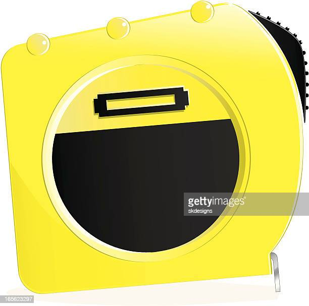 isolated yellow measuring tape - inch stock illustrations