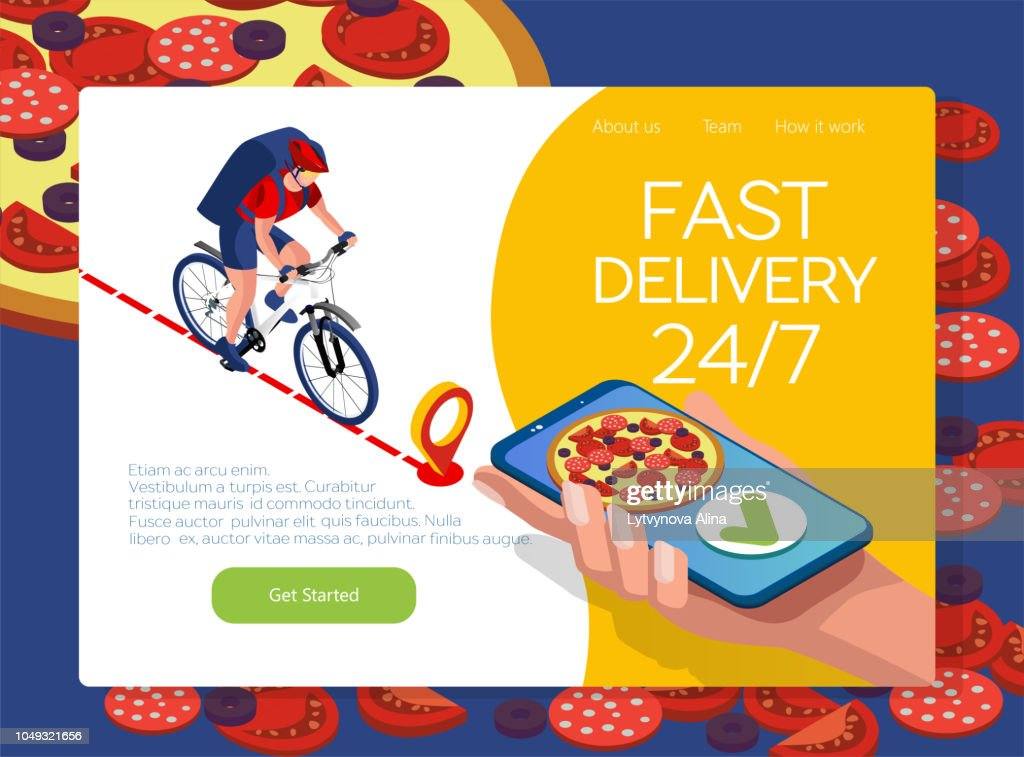 Isomeric fast delivery concept. Delivery man or cyclist speeding on a bike through city streets with a hot food delivery from restaurants to homes. Online pizza ordering with smartphone. Isometric 3D