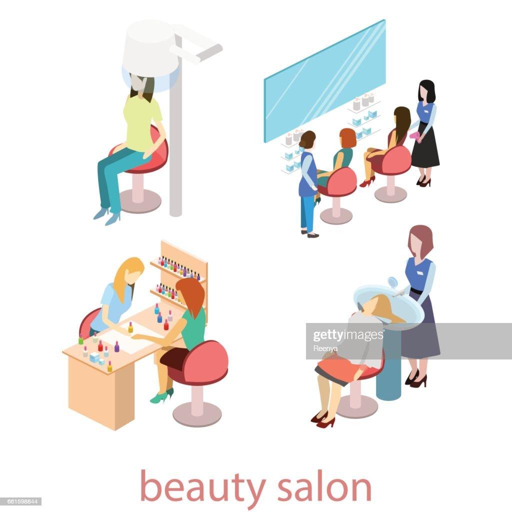 Isomeric interior of beauty salon