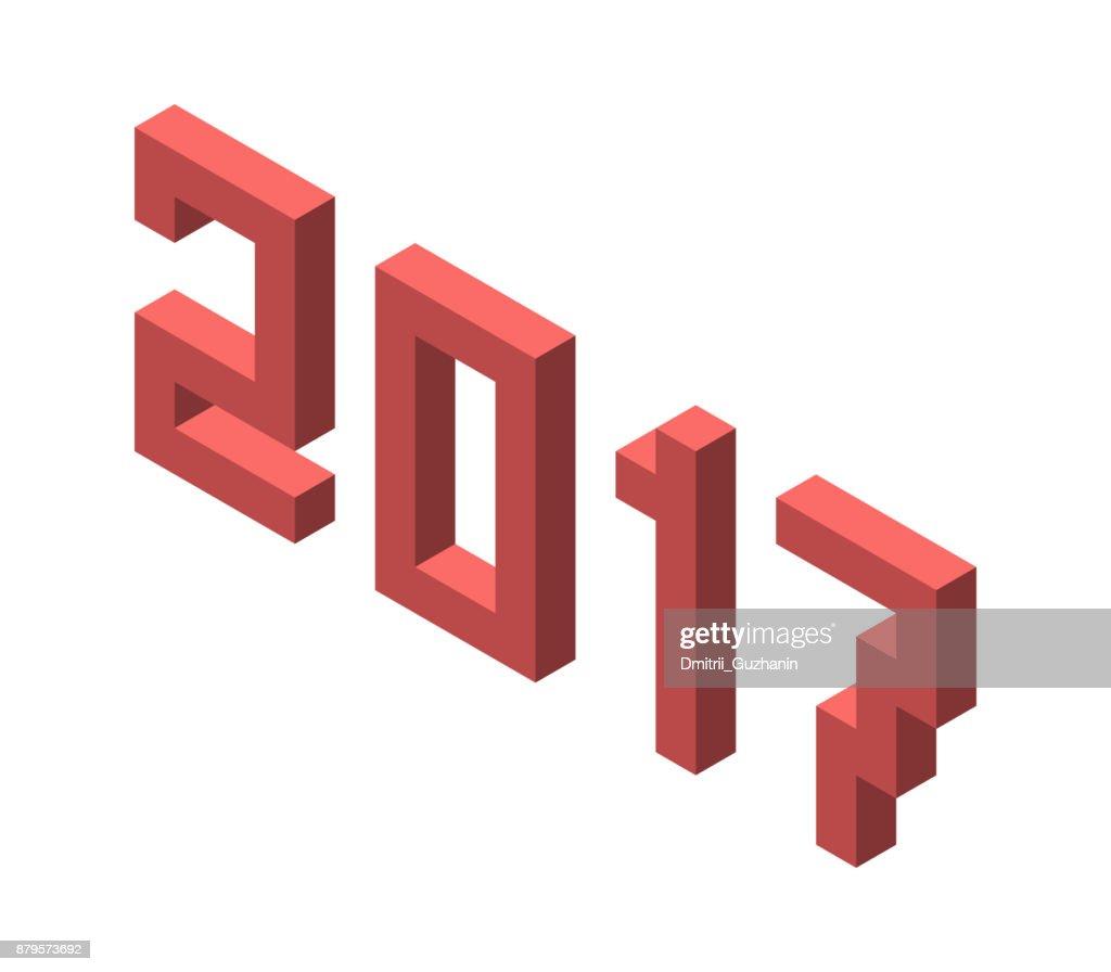 Isometric 2017 year isolated