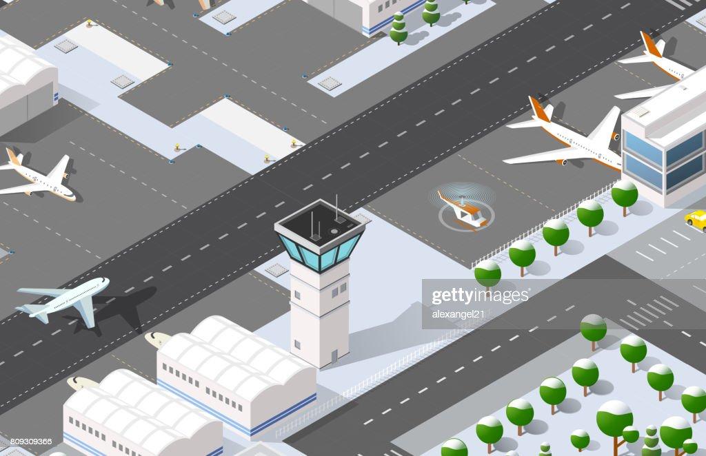 Isometric 3D airport