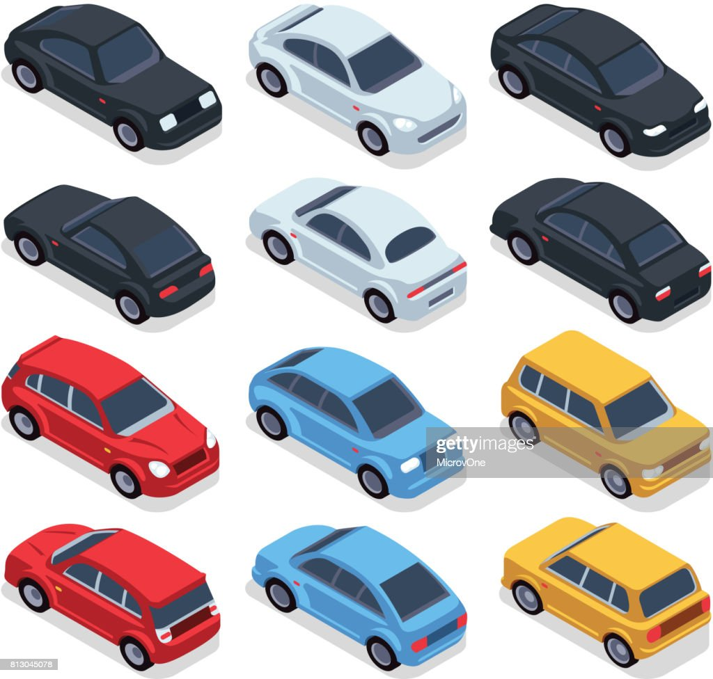 Isometric 3d cars. Transportation technology vector vehicles set