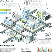 Isometric 3d city map. Infographic vector illustration. Dimensional plan