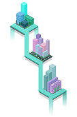 Isometric 3D cityscape view of the top of the house and street tres.