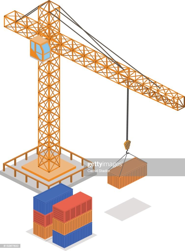 Isometric 3D concept vector illustration crane lifts cargo containers for delivery