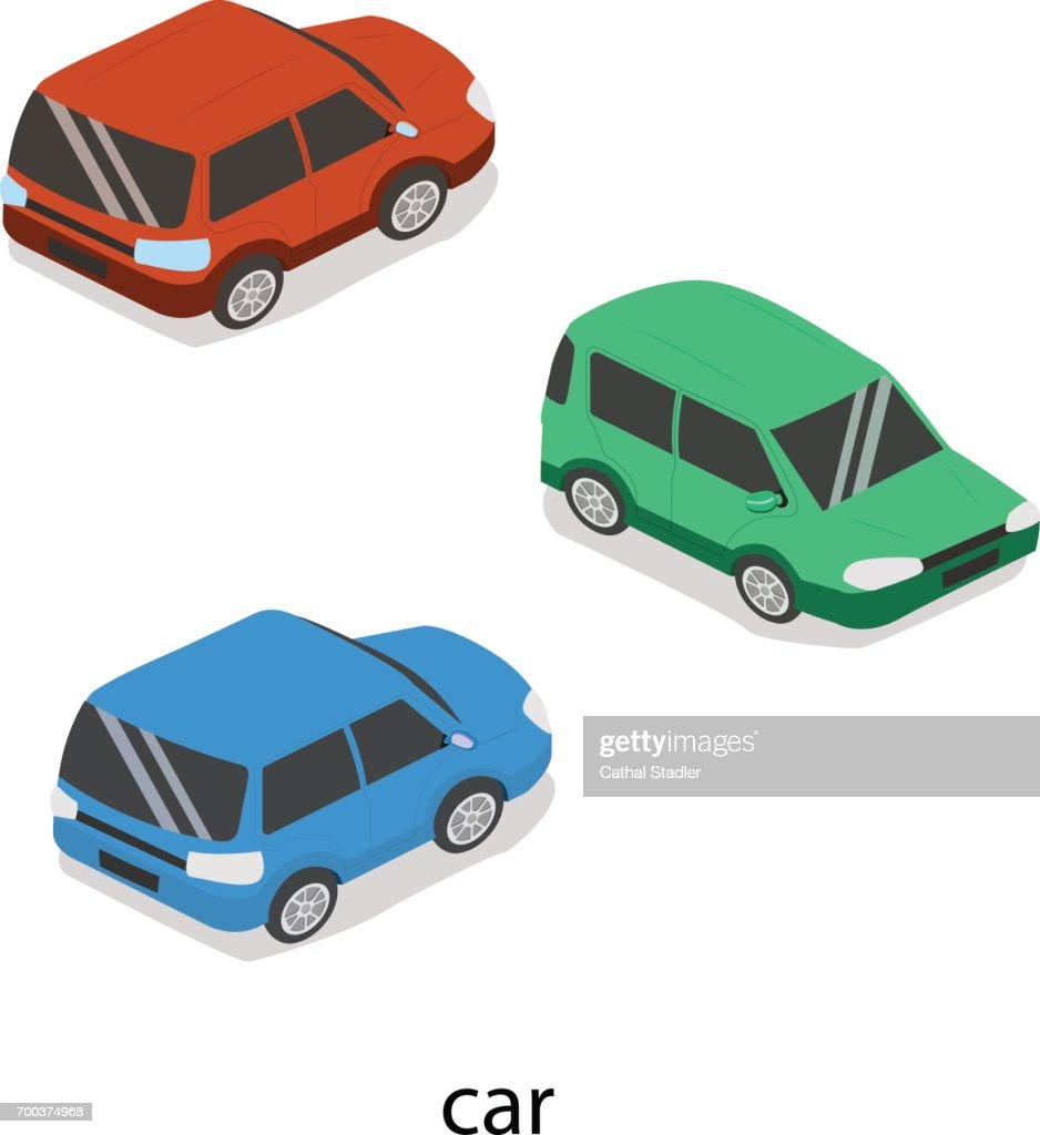 Isometric 3D concept vector illustration front and rear of the car