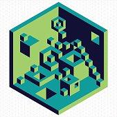 Isometric 3d cubes shape illustration