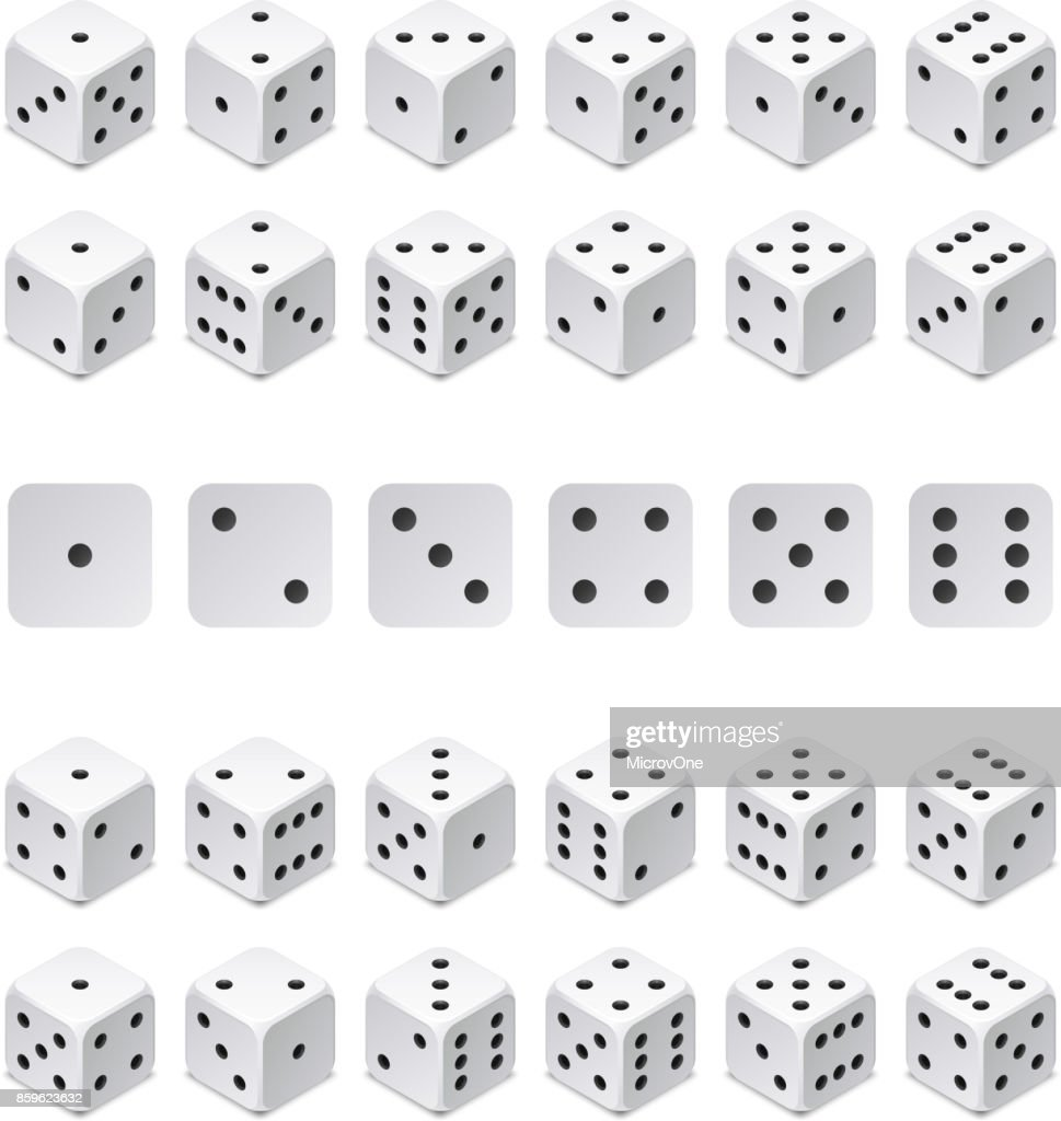 Isometric 3d dice combination. Vector game cubes isolated. Collection for gambling app and casino concept