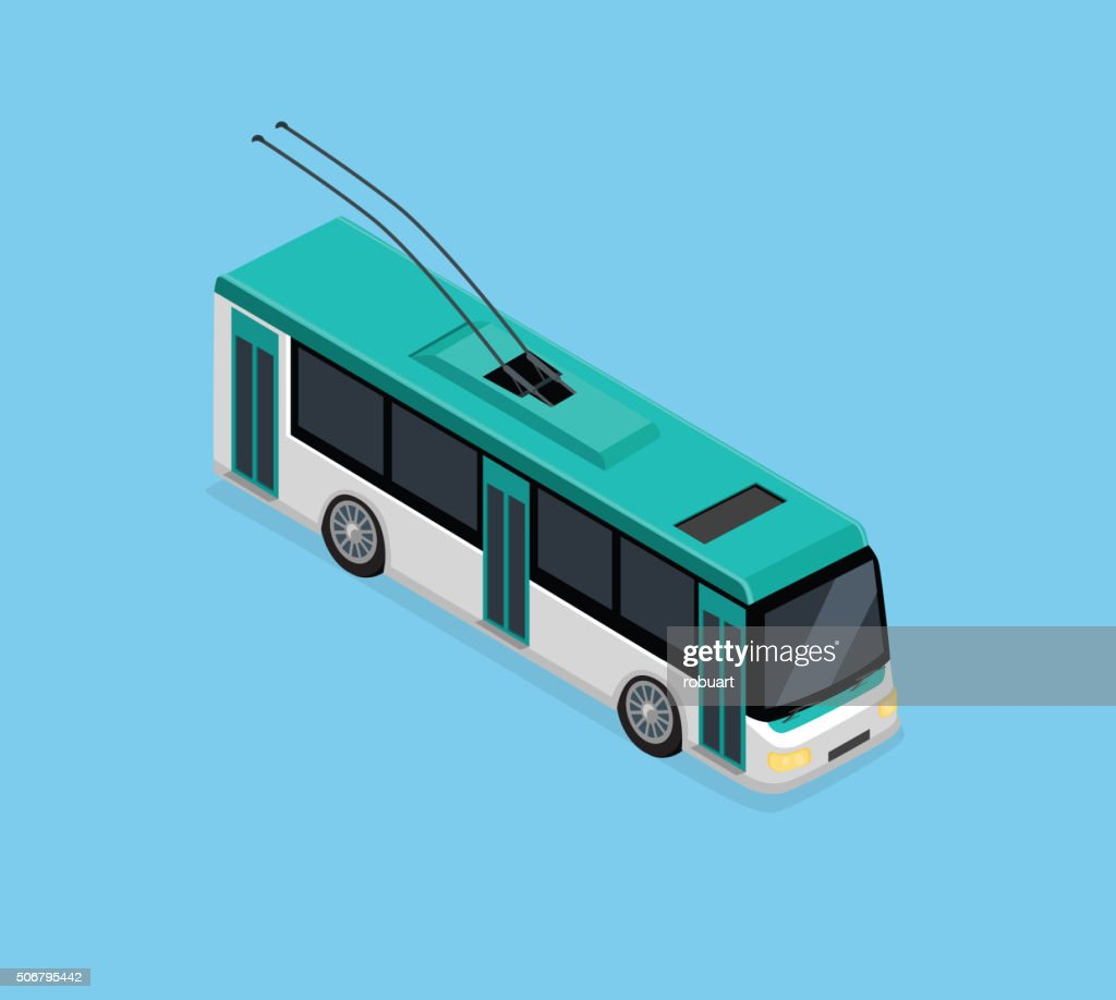 Isometric 3D Electric Trolleybus