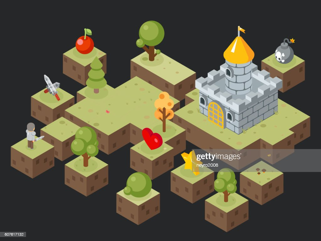 Isometric 3D game play scene vector