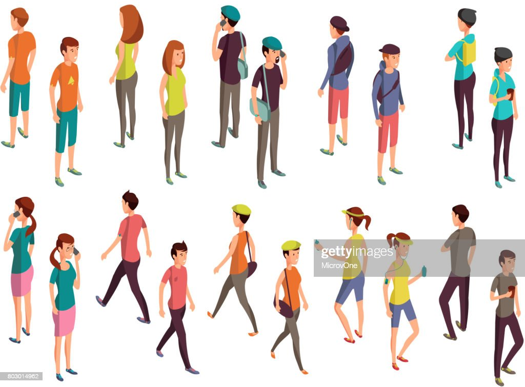 Isometric 3d people. Young casual persons vector set