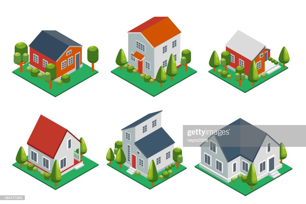 Isometric 3d private house, rural buildings and cottages icons set