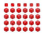 Isometric 3d red dice set