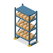 Isometric 3D vector illuctration concept warehouse shelves with boxes