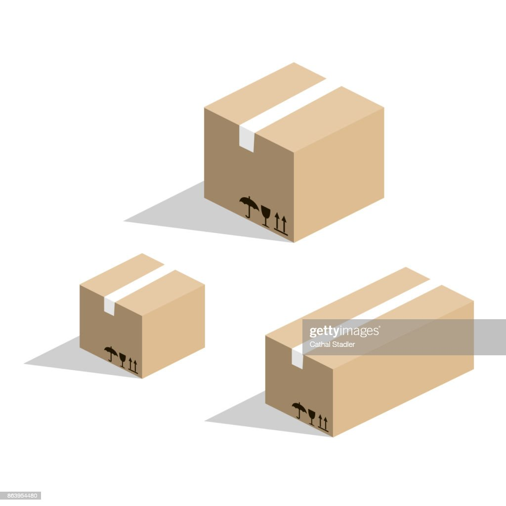 Isometric 3D vector illustration cardboard box for goods