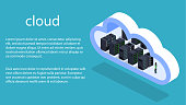 Isometric 3D vector illustration cloud servers for data processing