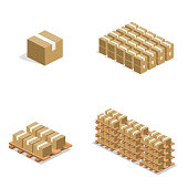 Isometric 3D vector illustration concept warehouse shelves with boxes