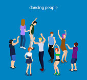 Isometric 3D vector illustration dancing people at a party