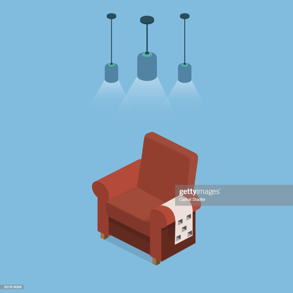 Isometric 3D vector illustration design interior armchair with plaid under bright blue lamps.