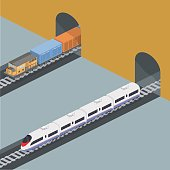 Isometric 3D vector illustration freight train and an express train on a railway track metro subway station
