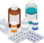Isometric 3D vector illustration of set of medical medicines. Pharmaceuticals and medical pills.
