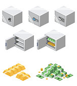 Isometric 3D vector illustration Safe for saving money and documents. Subject of property security