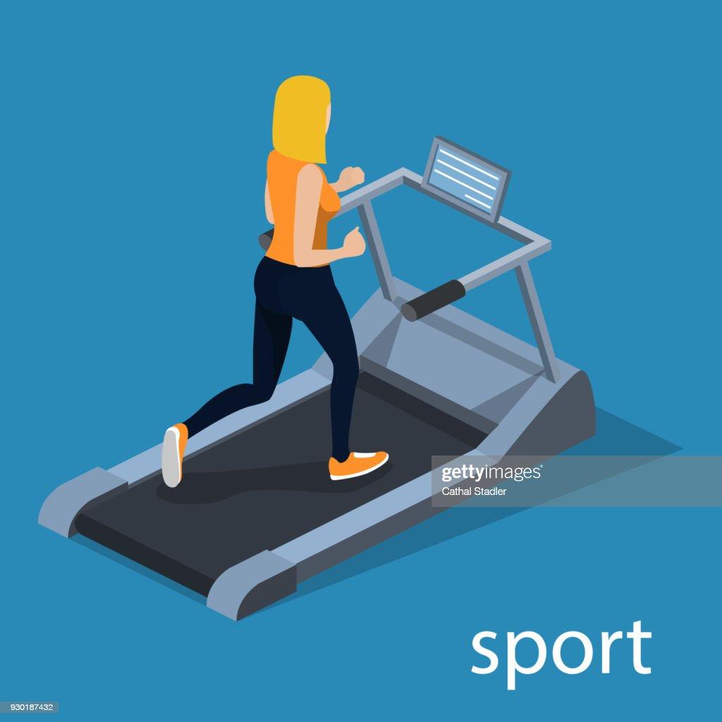 Isometric 3D vector illustration the girl is running on the treadmill