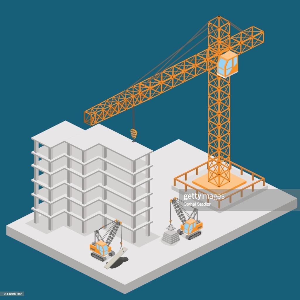 Isometric 3D vector illustration truck crane construction. construction of a multistory building.