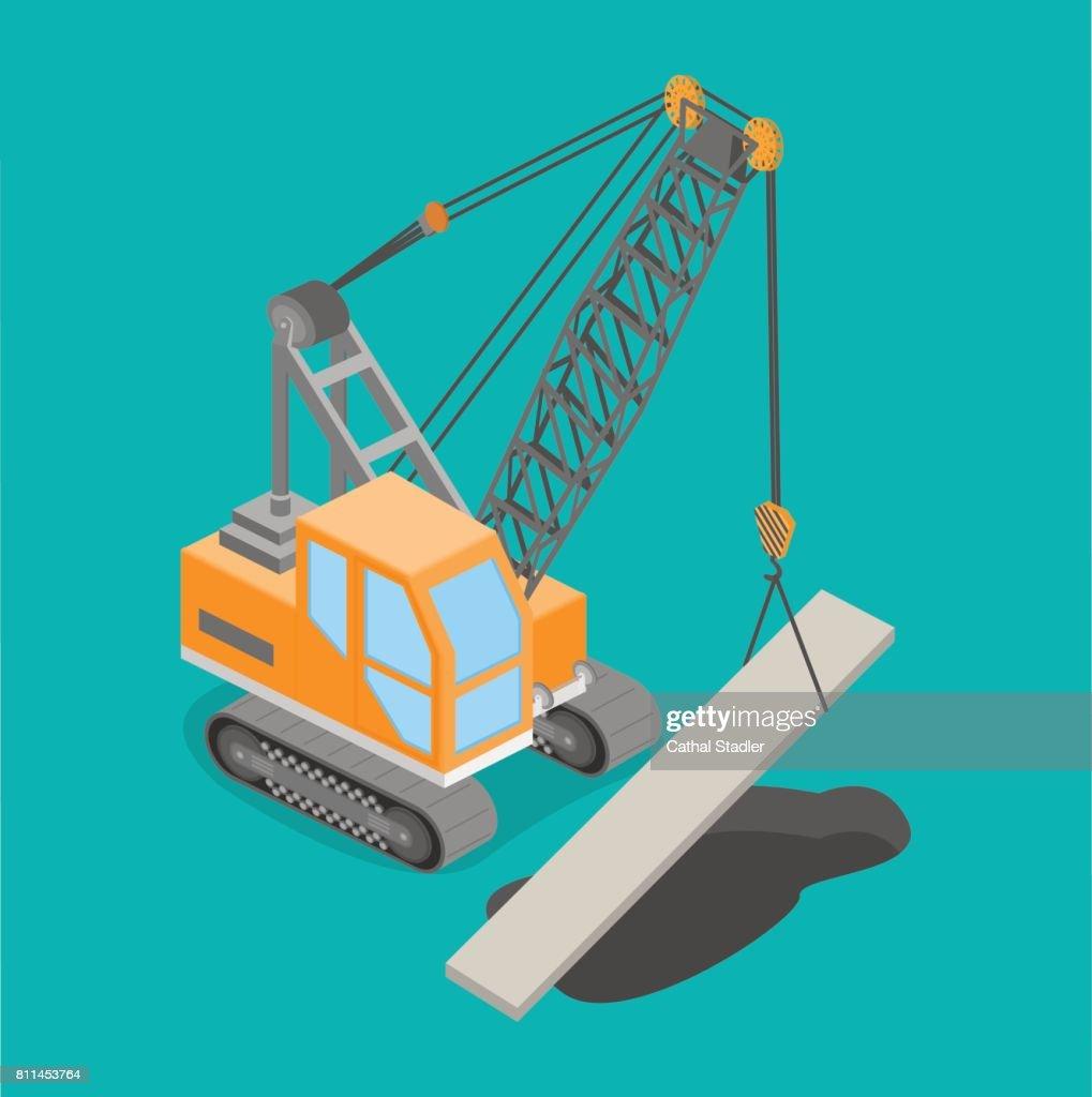 Isometric 3D vector illustration truck crane construction of roads, construction.