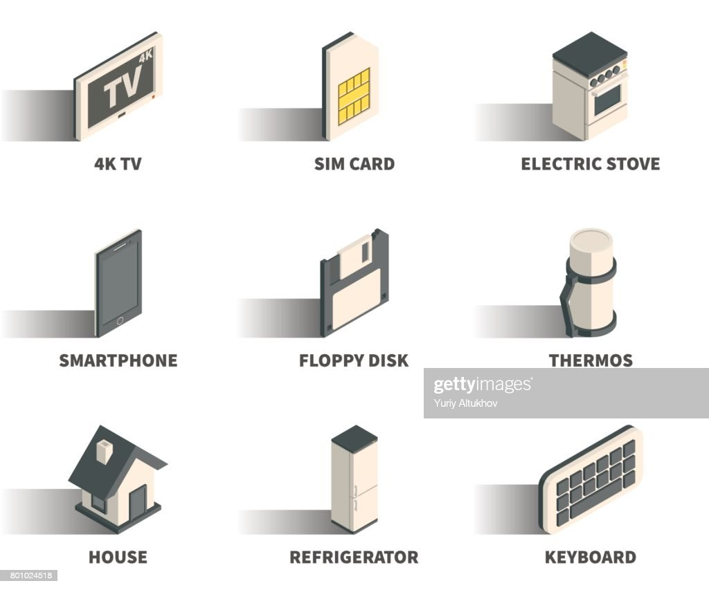 Isometric 3D web icon set - 4K TV, sim card, electric stove, smartphone, floppy disk, thermos, house, refrigerator, keyboard.