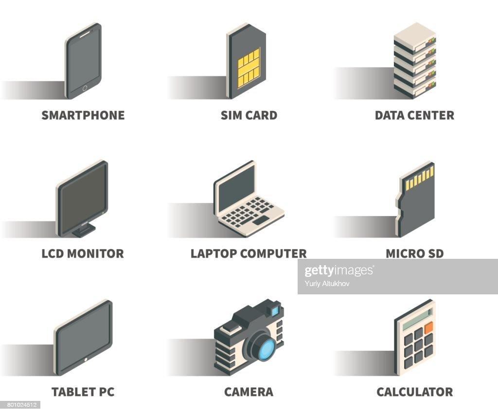 Isometric 3D web icon set - Smartphone, sim card, data center, monitor, laptop computer, micro sd, tablet pc, camera, calculator.
