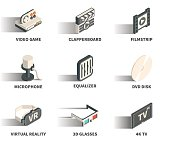 Isometric 3D web icon set - Video game, clapperboard, filmstrip, microphone, equalizer, DVD disk, virtual reality, 3D glasses, 4K TV.
