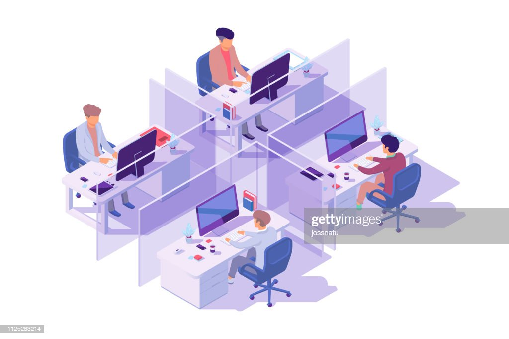 Isometric 3d workplace with four sections and businessman programmer at computer. : Stock Illustration