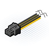 Isometric 6 Pin PCIe Connector