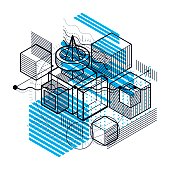 Isometric abstract background with lines and other different elements, vector abstract template. Composition of cubes, hexagons, squares, rectangles and different abstract elements.