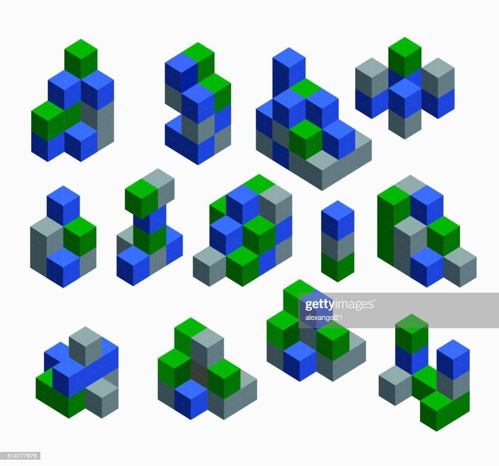 Isometric abstract geometric