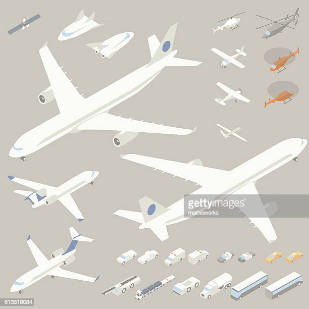 isometric airplanes and flying vehicles - mathisworks vehicles stock illustrations