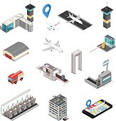 Isometric Airport Travel And Transport Icons