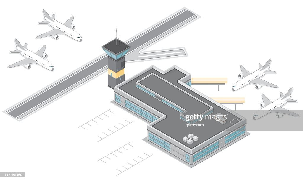 Isometric Airport with runway and airplanes