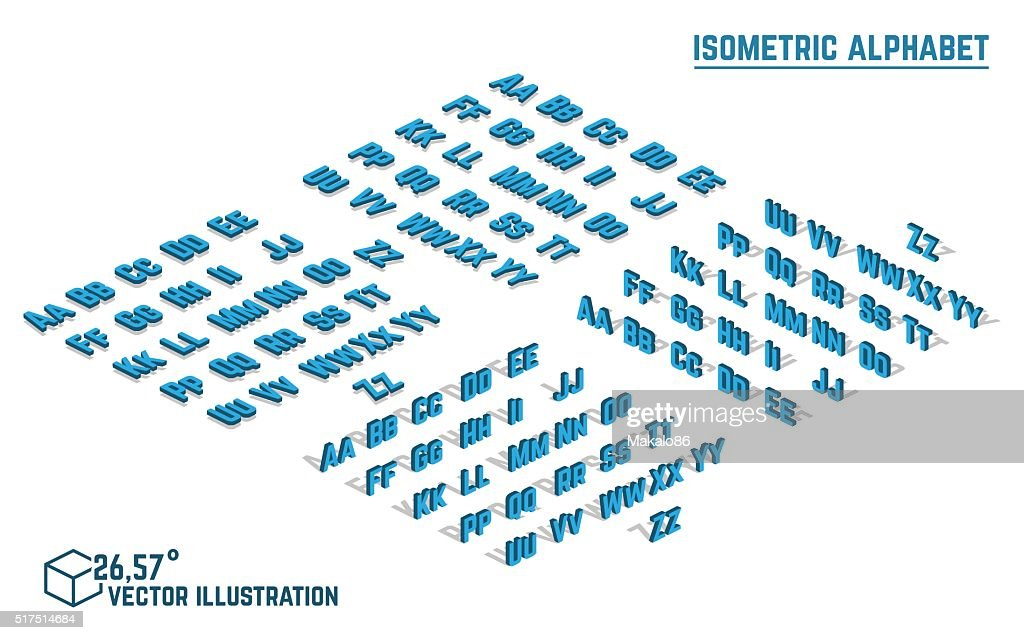 Isometric alphabet and font.