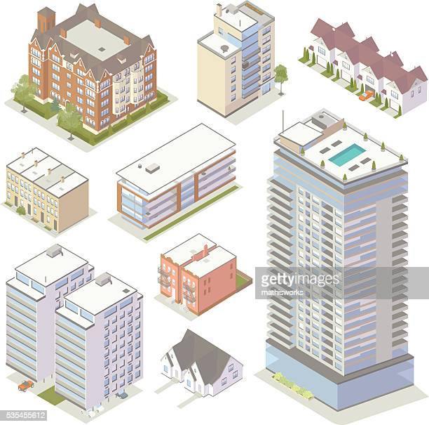 isometric apartment buildings - house exterior stock illustrations, clip art, cartoons, & icons