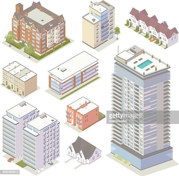 ilustraciones, imágenes clip art, dibujos animados e iconos de stock de isométricos los edificios de apartamentos - arquitectura exterior