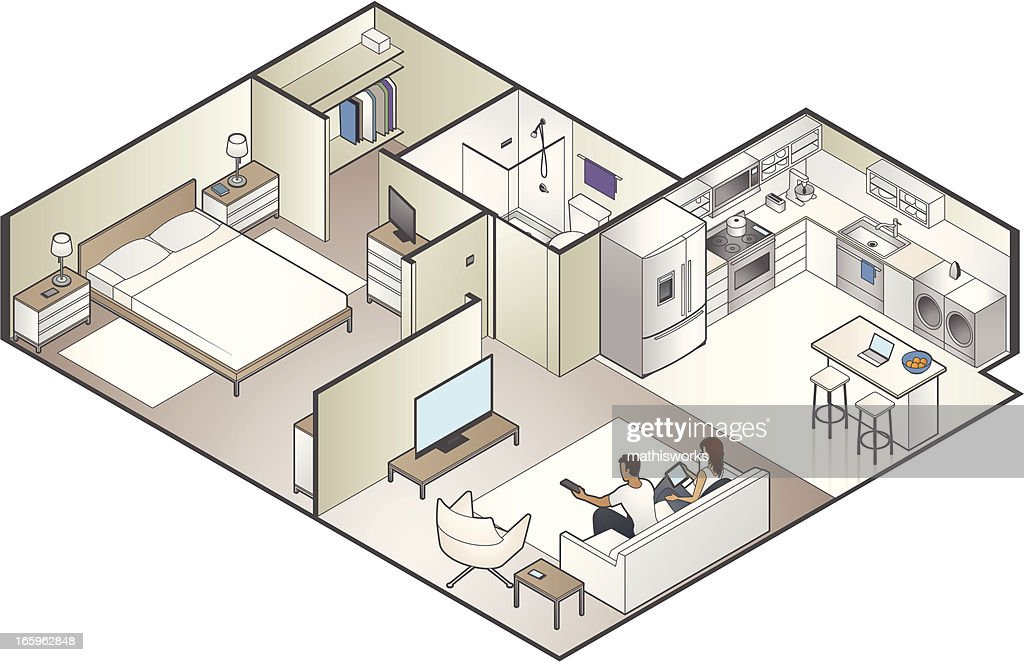Isometric Apartment Cutaway : Vector Art