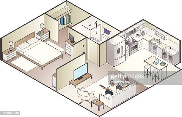 isometric apartment cutaway - domestic room stock illustrations, clip art, cartoons, & icons