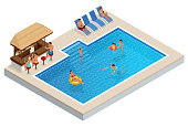 Isometric Aqua Park with bar, water pool, people or visitors. Vector illustration isolated on white background