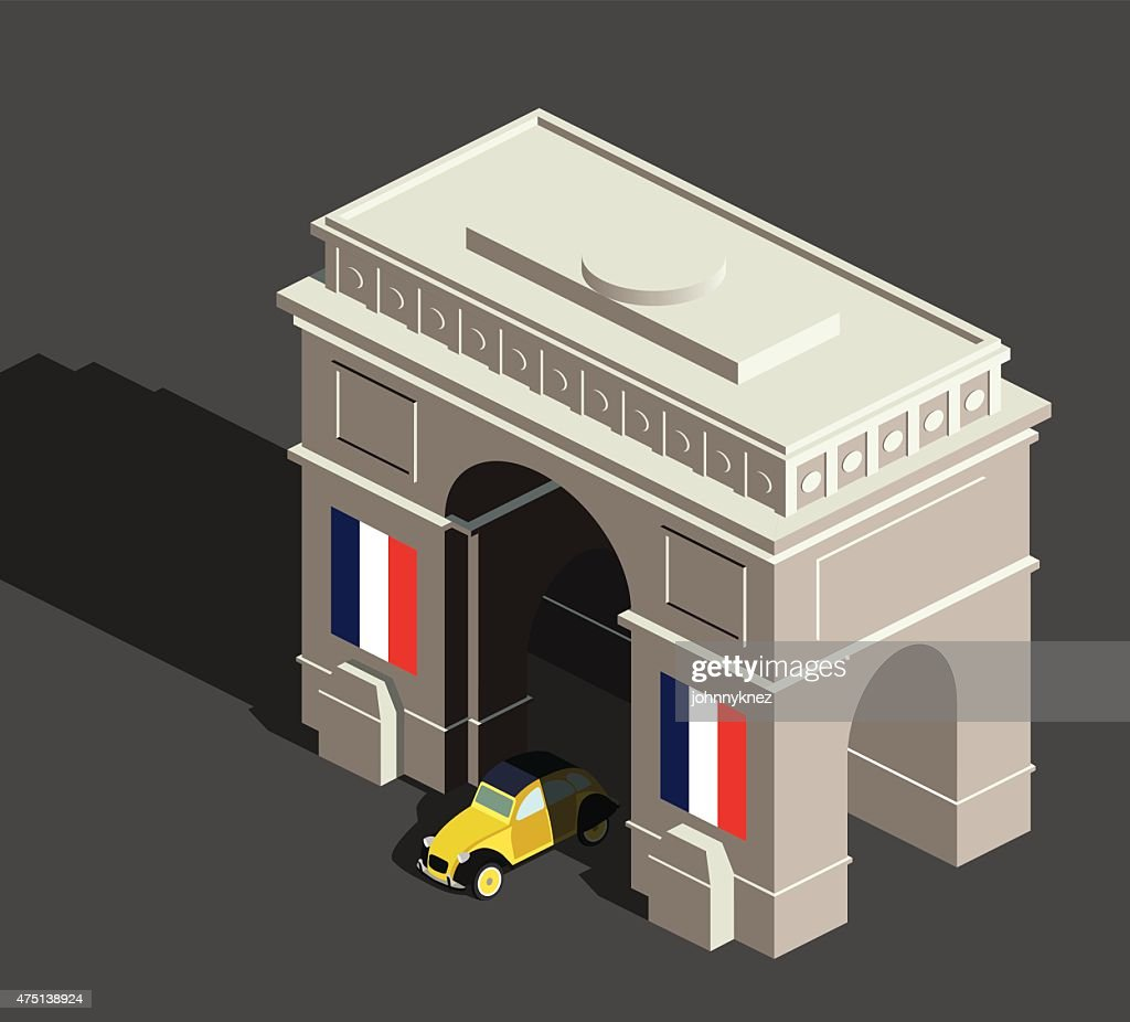 Isometric arc de Triomphe and vintage french car
