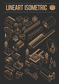 isometric Architecture historic old buildings graphical line art set