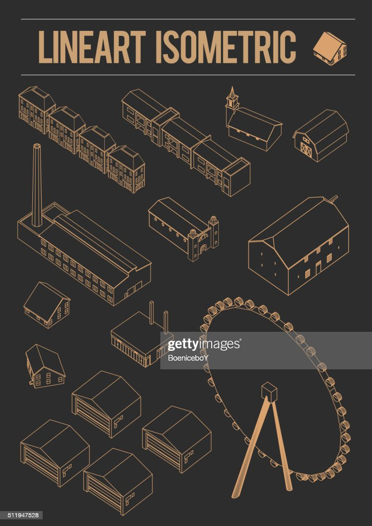 isometric Architecture historic old buildings graphical line art