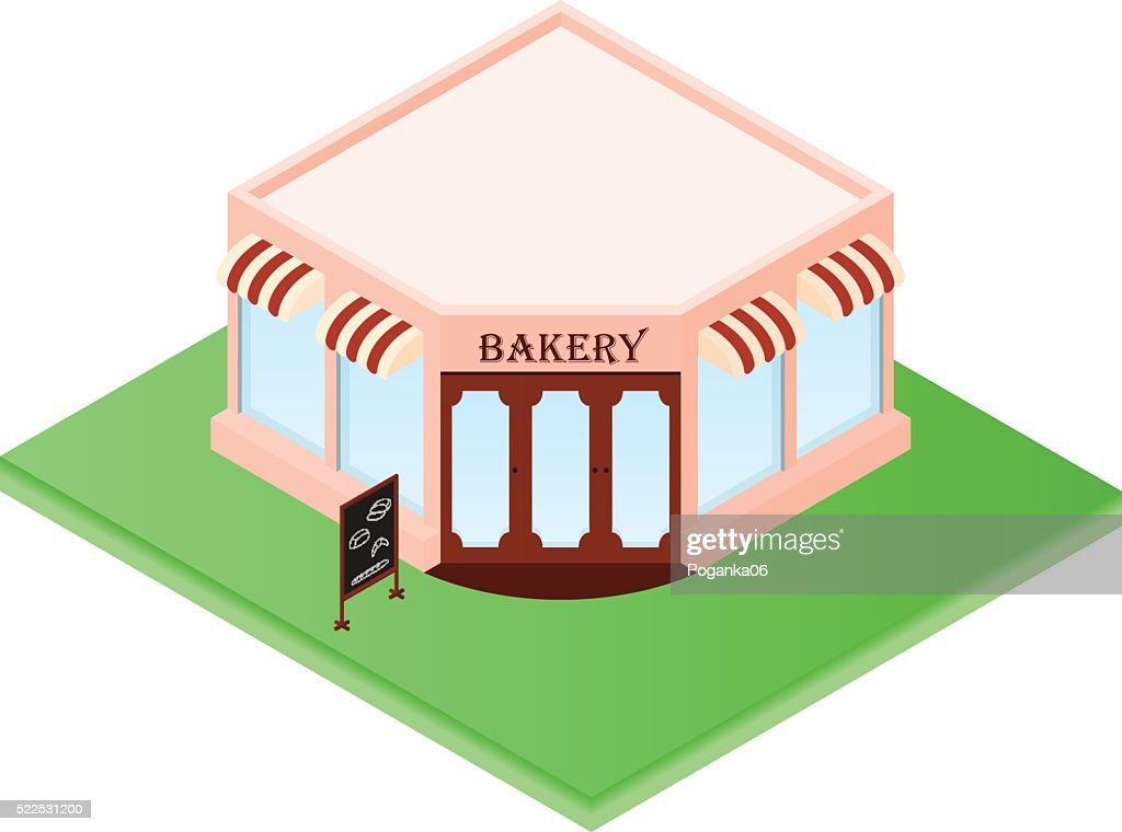 Isometric Bakery. Little shop of pastries. Your own small busine